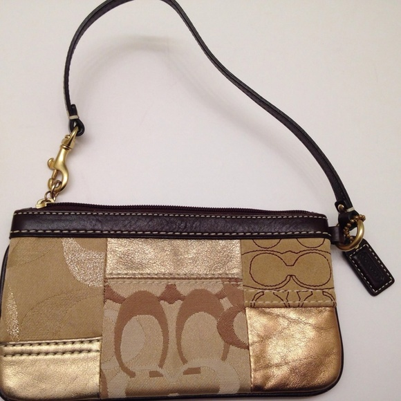 Coach Handbags - COACH METALLIC PATCHWORK WRISTLET WALLET